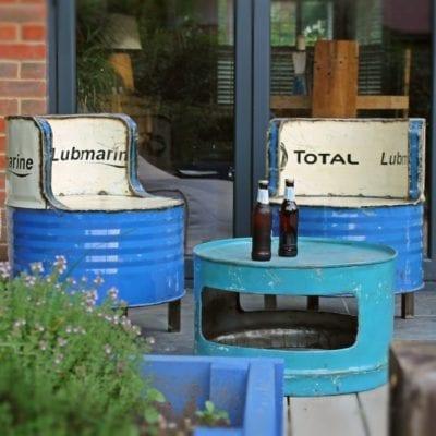 Oil Drum Industrial Outdoor Seating