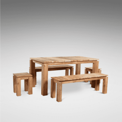 Reclaimed Teak Fortema Table & Bench Set