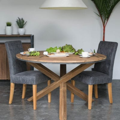 Reclaimed Teak Round Dining Table.
