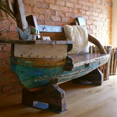 Reclaimed fishing boat furniture