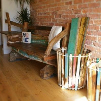 Reclaimed javanese fishing boat furniture large bench