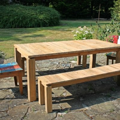 Reclaimed Teak Fortema Dining Table Bench BluBambu