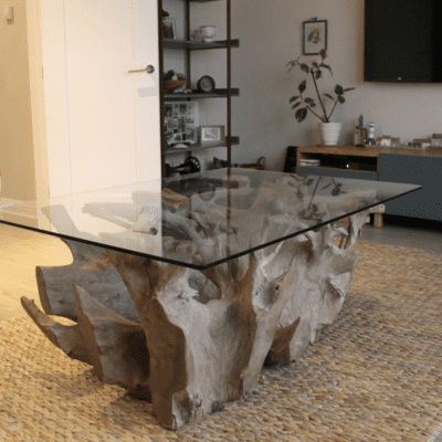 Teak Root Coffee Table Natural Grey Rectangle
