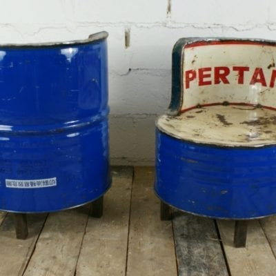 industrial oil drum blue chairs rustic steel .JPG