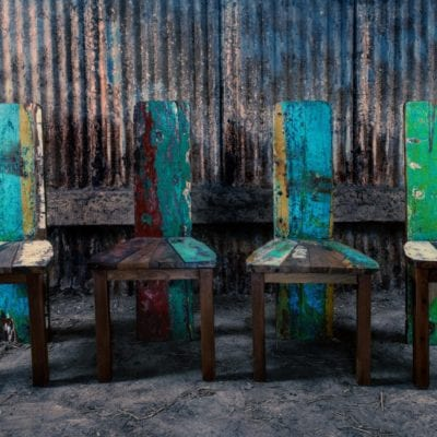 reclaimed fishing boat dining chairs
