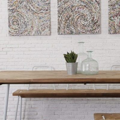 reclaimed teak CO dining table bench set