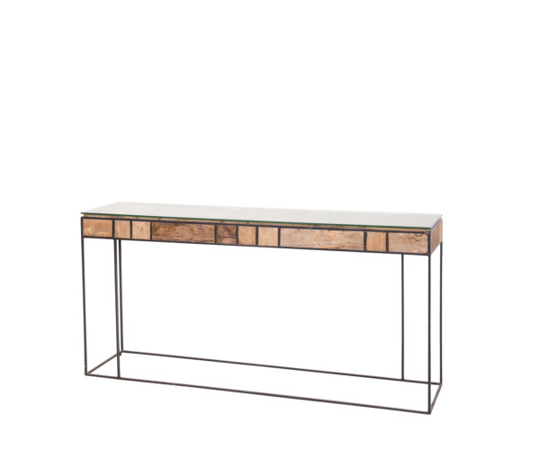 reclaimed teak MO console table glass