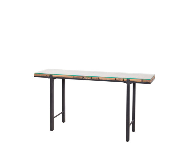 reclaimed teak MO console table glass.
