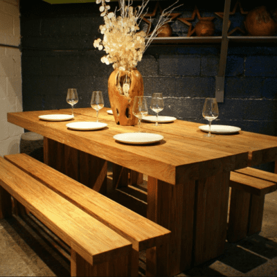 reclaimed teak chunky dining table