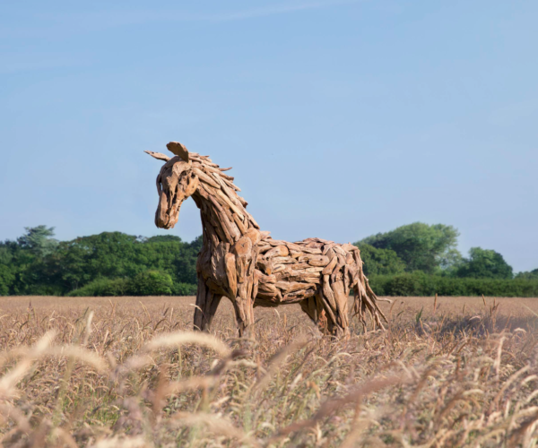 reclaimed teak root horse sculpture