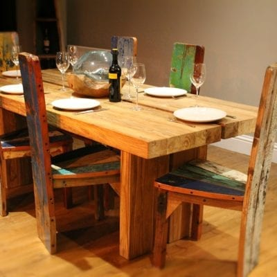 reclaimed teak table and boat wood chairs