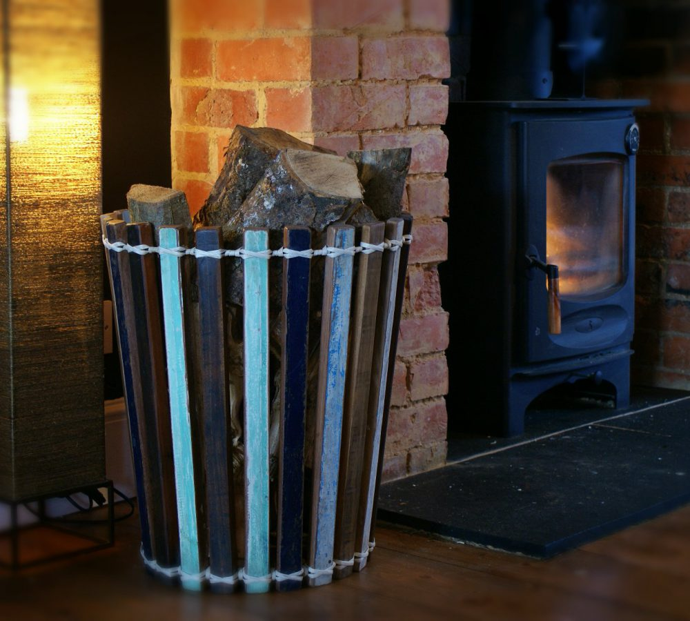 reclaimed wooden log basket for wood burner