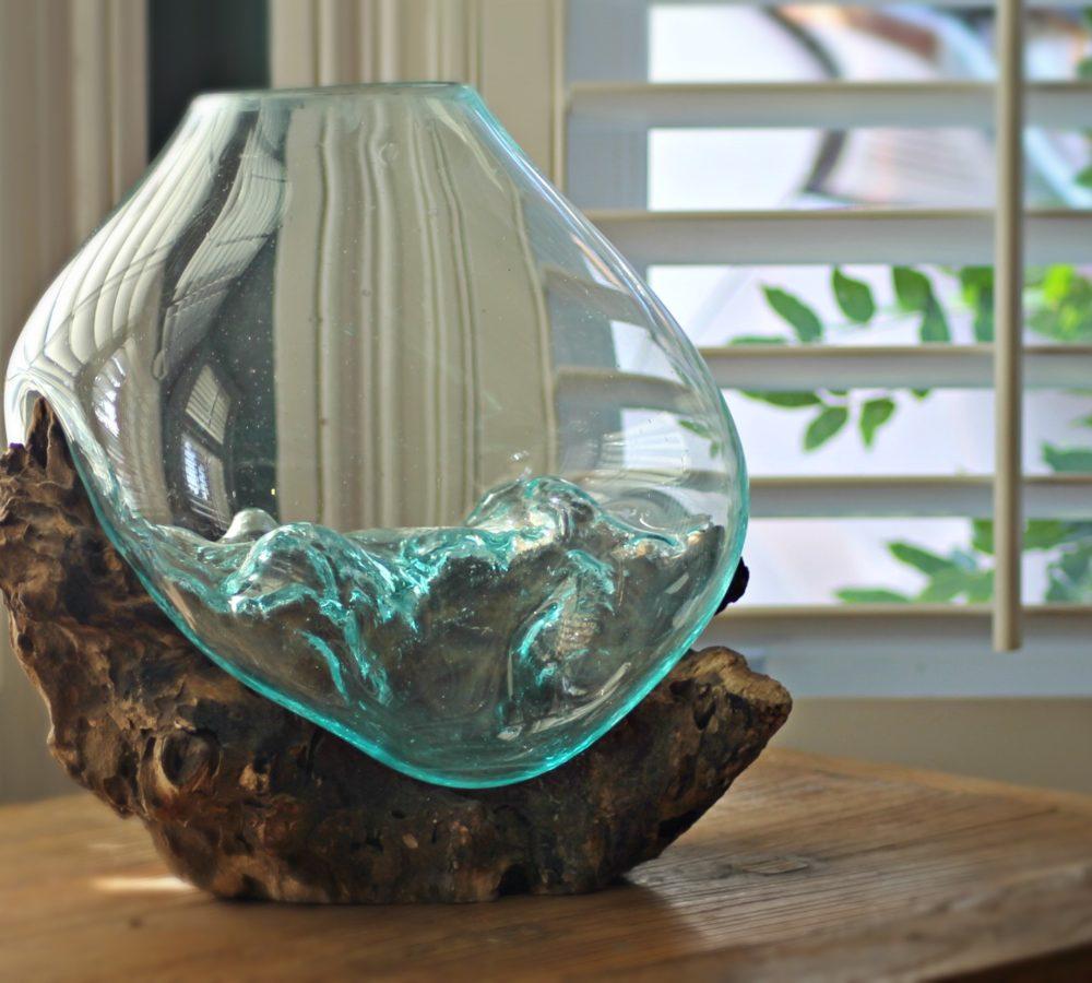 Glass Amp Teak Root Vase Blubambu