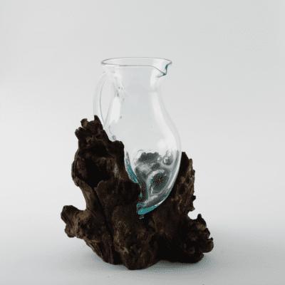 Handblown Glass Jug & Teak Root