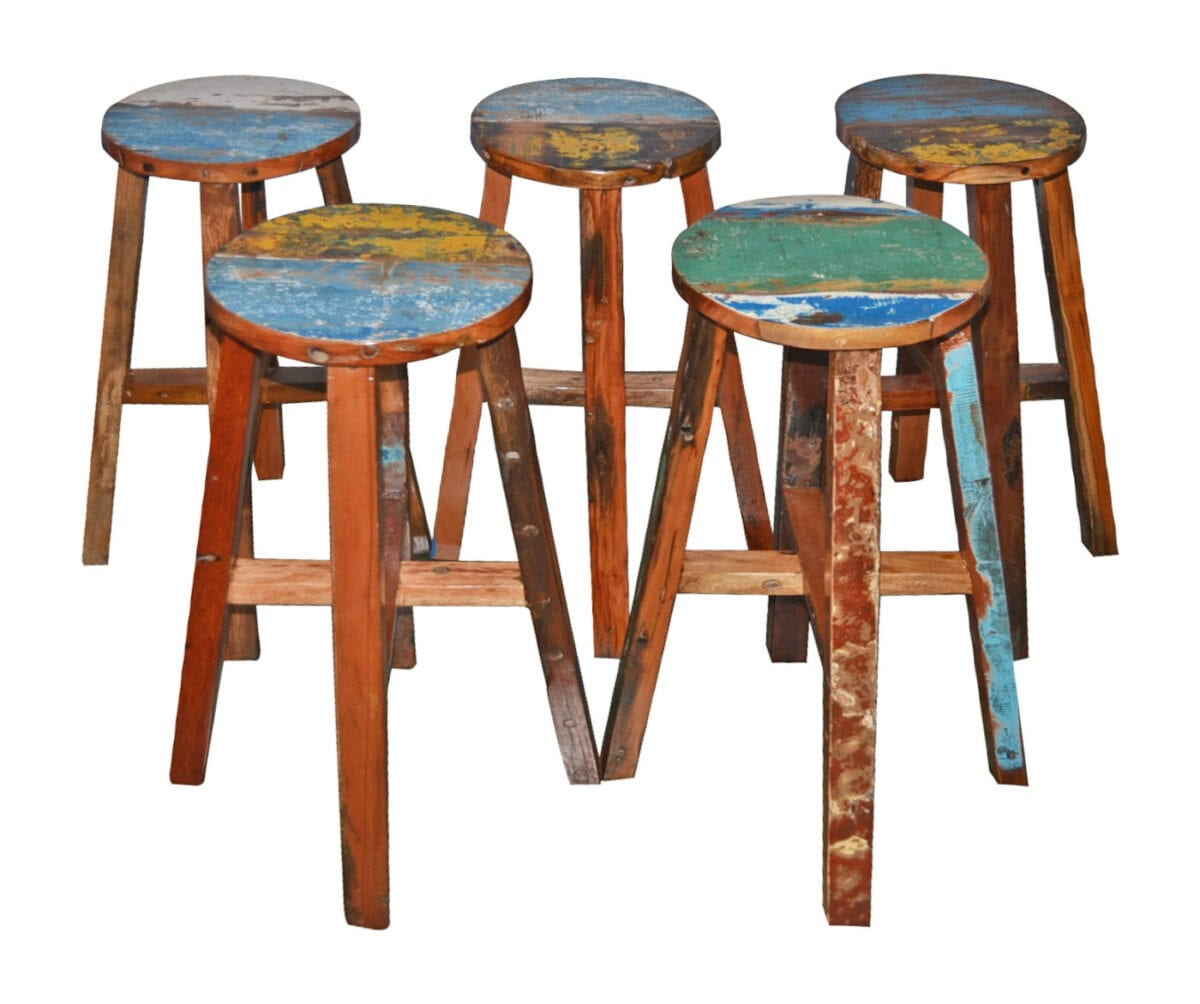 reclaimed boat wood round bar stool. Boat Wood Round Breakfast Bar Stool   BluBambu