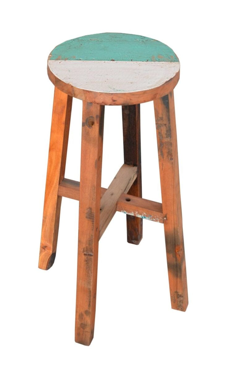 Reclaimed Boat Wood Round Bar Stool Blubambu