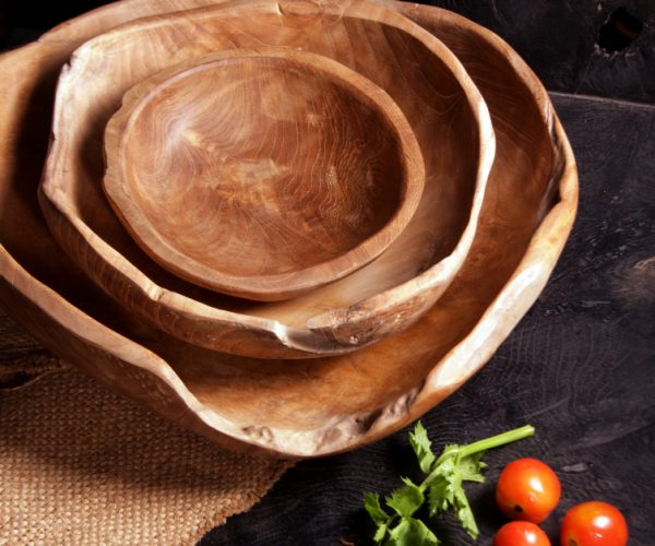 reclaimed teak rustic serving bowls