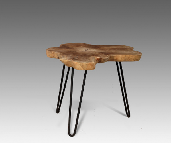 teak hairpin leg side table