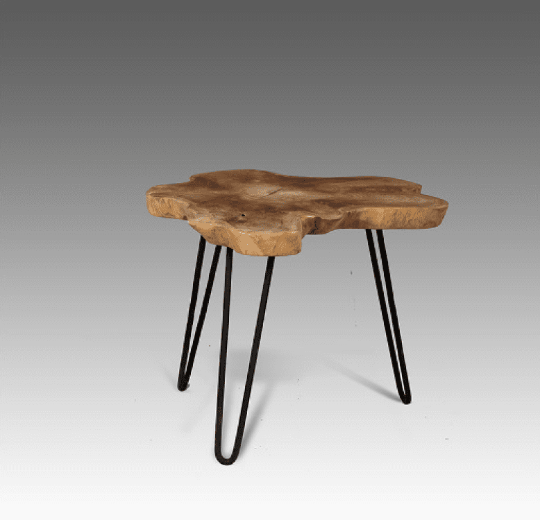 Teak Hairpin Leg Side Table Blubambu
