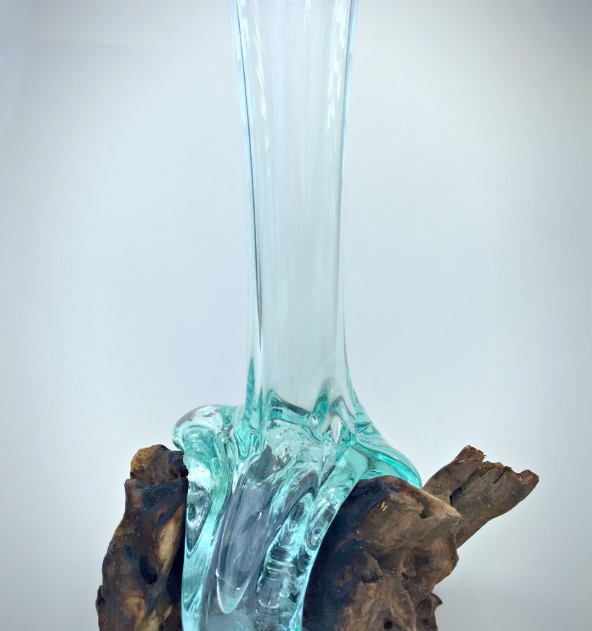 Glass amp Teak Root Tall Vase BluBambu : unique hand blown glass vase 844x900 from www.blubambu.co.uk size 844 x 900 png 663kB