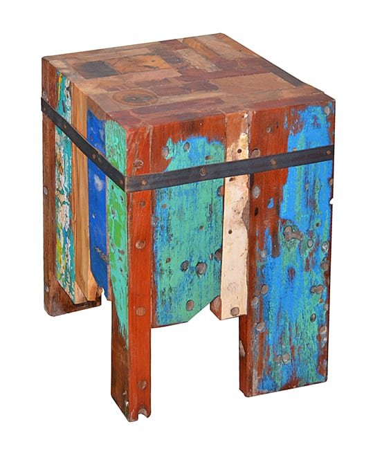 boat wood stool with iron
