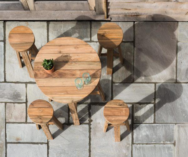 Reclaimed Teak Round Bar Table