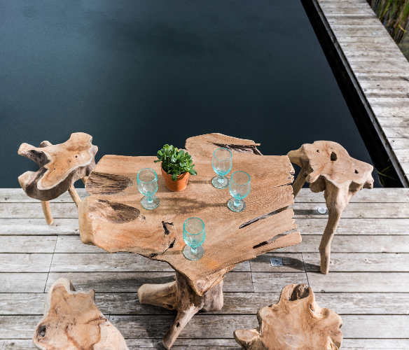 Natural Leg Teak Root Bar Squid Stools