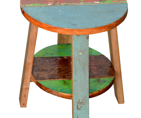 reclaimed boat wood flower side table