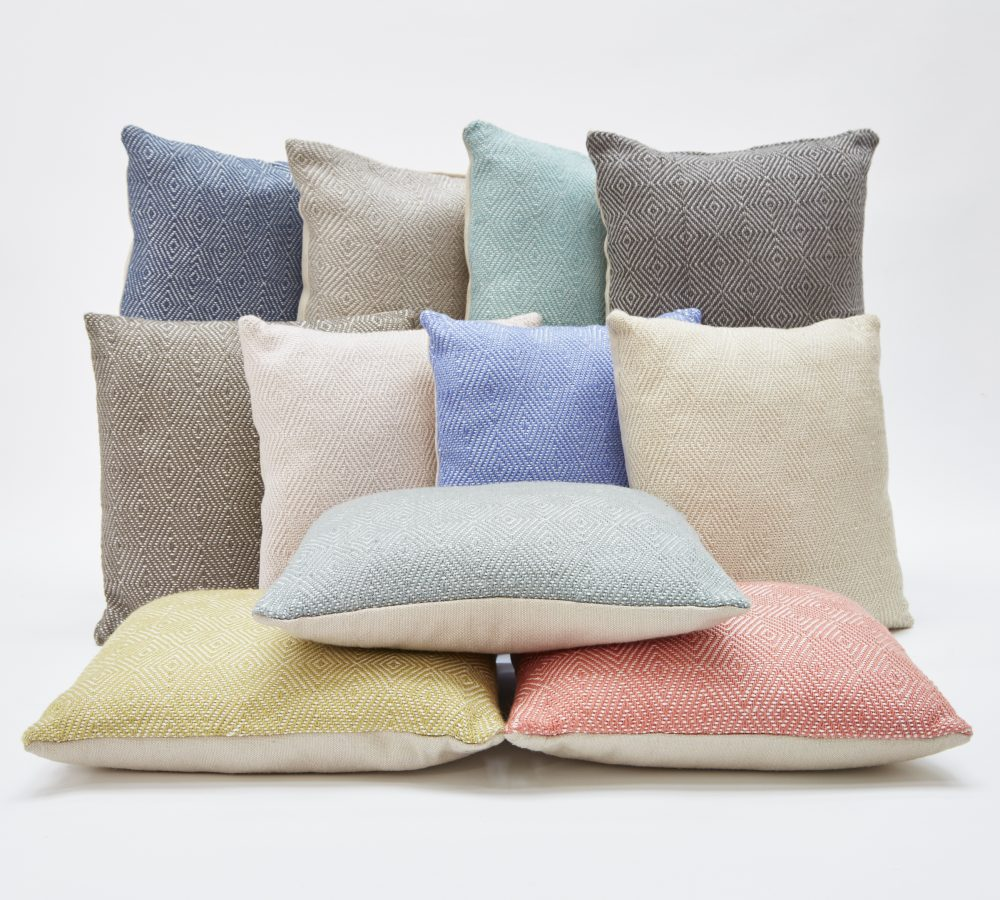 Weaver Green Diamond Cushions