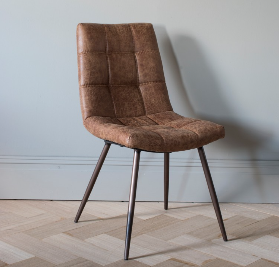 Faux Leather Dining Chair Brown