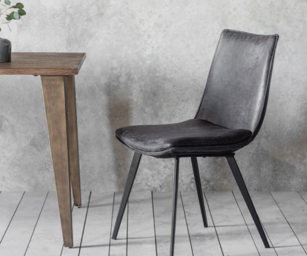 Faux Leather Dining Chair - Grey