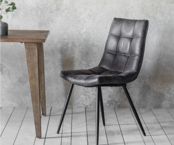 Faux Leather Dining Chair Grey
