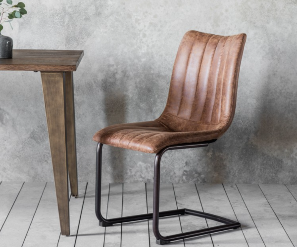 Faux Leather Industrial Dining Chair Brown