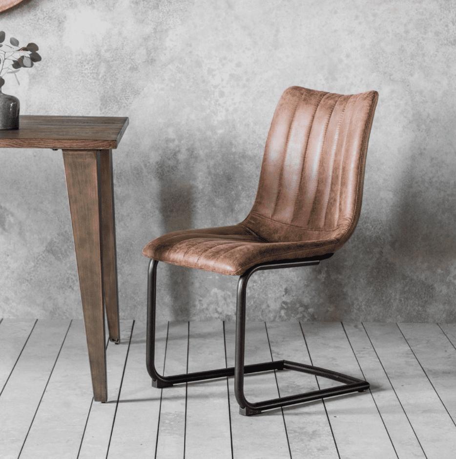Kuta Industrial Dining Chair Brown • BluBambu