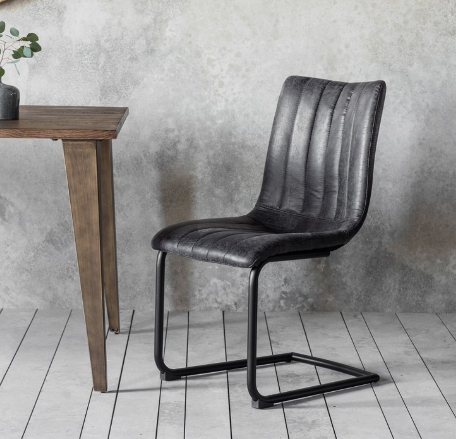Faux Leather Industrial Dining Chair Grey