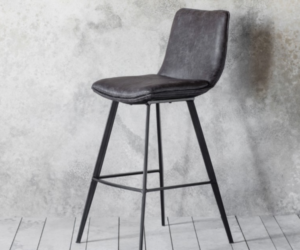 Sanue Faux Leather Stool - Grey